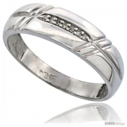 Sterling Silver Men's Diamond Wedding Band Rhodium finish, 1/4 in wide -Style Ag005mb