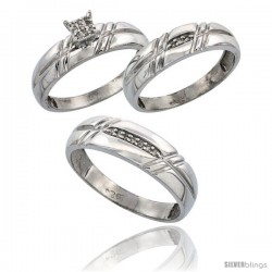 Sterling Silver Diamond Trio Wedding Ring Set His 6mm & Hers 5.5mm Rhodium finish