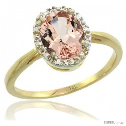 14k Yellow Gold Morganite Diamond Halo Ring 1.17 Carat 8X6 mm Oval Shape, 1/2 in wide