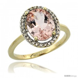 14k Yellow Gold Diamond Halo Morganite Ring 2.5 carat Oval shape 10X8 mm, 1/2 in (12.5mm) wide