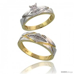 10k Yellow Gold Diamond Engagement Rings 2-Piece Set for Men and Women 0.10 cttw Brilliant Cut, 5mm & 6mm wide