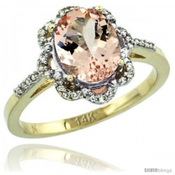 14k Yellow Gold Diamond Halo Morganite Ring 1.7 Carat Oval Shape 9X7 mm, 7/16 in (11mm) wide