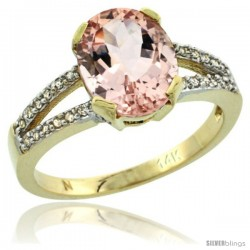 14k Yellow Gold and Diamond Halo Morganite Ring 2.4 carat Oval shape 10X8 mm, 3/8 in (10mm) wide