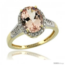 14k Yellow Gold Diamond Morganite Ring 2.5 ct Oval Stone 10x8 mm, 1/2 in wide