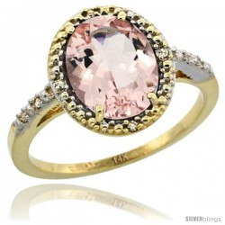 14k Yellow Gold Diamond Morganite Ring 2.4 ct Oval Stone 10x8 mm, 1/2 in wide