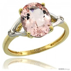 14k Yellow Gold Diamond Morganite Ring 2.4 ct Oval Stone 10x8 mm, 3/8 in wide
