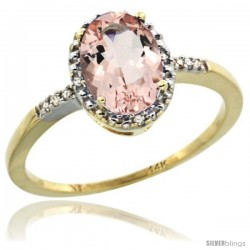 14k Yellow Gold Diamond Morganite Ring 1.17 ct Oval Stone 8x6 mm, 3/8 in wide