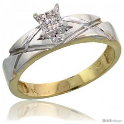 10k Yellow Gold Diamond Engagement Ring 0.06 cttw Brilliant Cut, 3/16 in wide