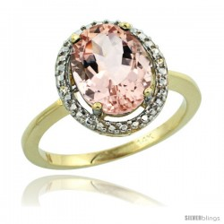 14k Yellow Gold Diamond Morganite Ring 2.4 ct Oval Stone 10x8 mm, 1/2 in wide -Style Cy413114