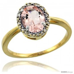 14k Yellow Gold Diamond Halo Morganite Ring 1.2 ct Oval Stone 8x6 mm, 1/2 in wide
