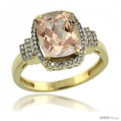 14k Yellow Gold Diamond Halo Morganite Ring 2.4 ct Cushion Cut 9x7 mm, 1/2 in wide