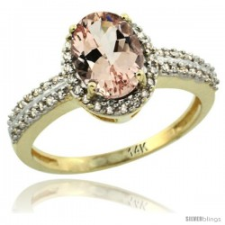 14k Yellow Gold Diamond Halo Morganite Ring 1.2 ct Oval Stone 8x6 mm, 3/8 in wide