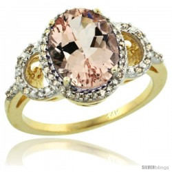 14k Yellow Gold Diamond Halo Morganite Ring 2.4 ct Oval Stone 10x8 mm, 1/2 in wide