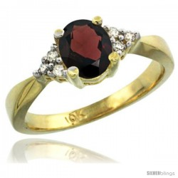10k Yellow Gold Ladies Natural Garnet Ring oval 7x5 Stone -Style Cy910168
