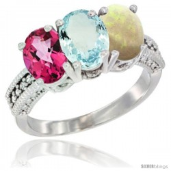 14K White Gold Natural Pink Topaz, Aquamarine & Opal Ring 3-Stone 7x5 mm Oval Diamond Accent