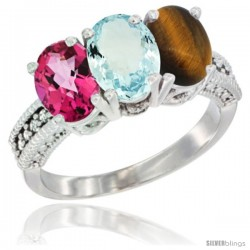 14K White Gold Natural Pink Topaz, Aquamarine & Tiger Eye Ring 3-Stone 7x5 mm Oval Diamond Accent
