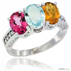 14K White Gold Natural Pink Topaz, Aquamarine & Whisky Quartz Ring 3-Stone 7x5 mm Oval Diamond Accent