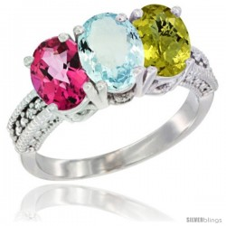 14K White Gold Natural Pink Topaz, Aquamarine & Lemon Quartz Ring 3-Stone 7x5 mm Oval Diamond Accent