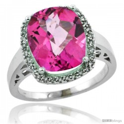 14k White Gold Diamond Pink Topaz Ring 5.17 ct Checkerboard Cut Cushion 12x10 mm, 1/2 in wide