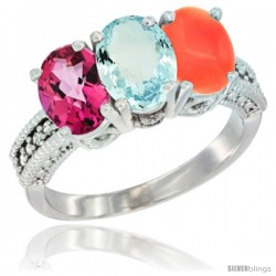 14K White Gold Natural Pink Topaz, Aquamarine & Coral Ring 3-Stone 7x5 mm Oval Diamond Accent