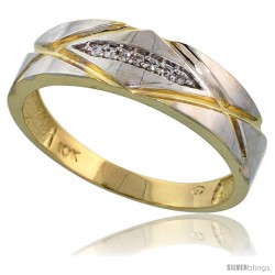 10k Yellow Gold Mens Diamond Wedding Band Ring 0.04 cttw Brilliant Cut, 1/4 in wide