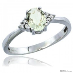 10K White Gold Natural Green Amethyst Ring Oval 6x4 Stone Diamond Accent