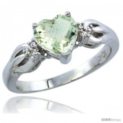 10K White Gold Natural Green Amethyst Ring Heart-shape 7x7 Stone Diamond Accent