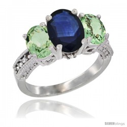10K White Gold Ladies Natural Blue Sapphire Oval 3 Stone Ring with Green Amethyst Sides Diamond Accent