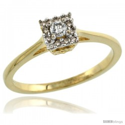 10k Gold Square-shaped Diamond Engagement Ring w/ 0.119 Carat Brilliant Cut Diamonds, 3/16 in. (5mm) wide