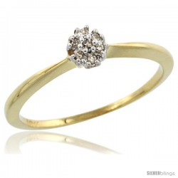 10k Gold Flower Cluster Diamond Engagement Ring w/ 0.022 Carat Brilliant Cut Diamonds, 3/16 in. (5mm) wide
