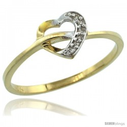 10k Gold Heart Cut Out Diamond Engagement Ring w/ 0.022 Carat Brilliant Cut Diamonds, 1/4 in. (7mm) wide