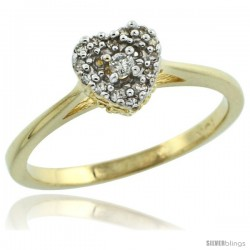 10k Gold Heart-shaped Diamond Engagement Ring w/ 0.086 Carat Brilliant Cut Diamonds, 1/4 in. (6.5mm) wide