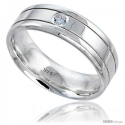 Gent's Perfect Quality Sterling Silver Brilliant Cut Cubic Zirconia Ring -Style Rcz542
