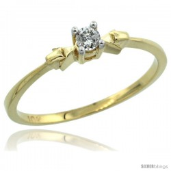 10k Gold Solitaire Diamond Engagement Ring w/ 0.077 Carat Brilliant Cut Diamond, 1/8 in. (3mm) wide