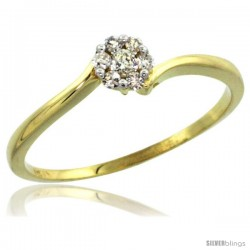 10k Gold Flower Cluster Diamond Engagement Ring w/ 0.12 Carat Brilliant Cut Diamonds, 3/16 in. (4.5mm) wide