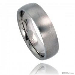Titanium 6mm Domed Wedding Band Thumb Ring Matte finish Comfort-fit -Style Rtt206