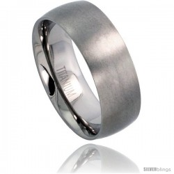 Titanium 8mm Domed Wedding Band Thumb Ring Matte finish Comfort-fit