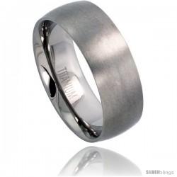 Titanium 8mm Domed Wedding Band Thumb Ring Matte finish Comfort-fit