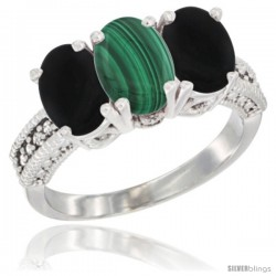 14K White Gold Natural Malachite & Black Onyx Sides Ring 3-Stone 7x5 mm Oval Diamond Accent
