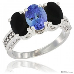 14K White Gold Natural Tanzanite & Black Onyx Sides Ring 3-Stone 7x5 mm Oval Diamond Accent
