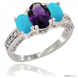 14k White Gold Ladies Oval Natural Amethyst 3-Stone Ring with Turquoise Sides Diamond Accent