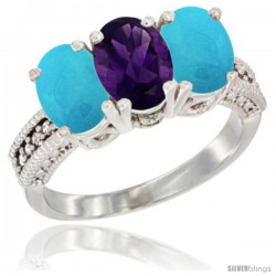 14K White Gold Natural Amethyst & Turquoise Sides Ring 3-Stone 7x5 mm Oval Diamond Accent