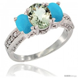 14k White Gold Ladies Oval Natural Green Amethyst 3-Stone Ring with Turquoise Sides Diamond Accent