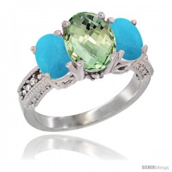 14K White Gold Ladies 3-Stone Oval Natural Green Amethyst Ring with Turquoise Sides Diamond Accent