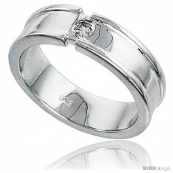 Gent's Perfect Quality Sterling Silver Brilliant Cut Cubic Zirconia Ring -Style Rcz544