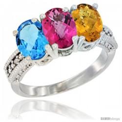 10K White Gold Natural Swiss Blue Topaz, Pink Topaz & Whisky Quartz Ring 3-Stone Oval 7x5 mm Diamond Accent