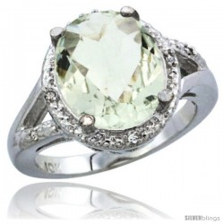 10K White Gold Natural Green Amethyst Ring Oval 12x10 Stone Diamond Accent
