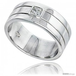 Gent's Perfect Quality Sterling Silver Brilliant Cut Cubic Zirconia Ring -Style Rcz546