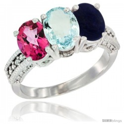 14K White Gold Natural Pink Topaz, Aquamarine & Lapis Ring 3-Stone 7x5 mm Oval Diamond Accent