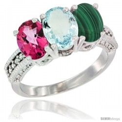 14K White Gold Natural Pink Topaz, Aquamarine & Malachite Ring 3-Stone 7x5 mm Oval Diamond Accent